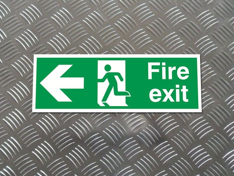 """Fire Exit Arrow Left"" Fire Exit Direction Sign"