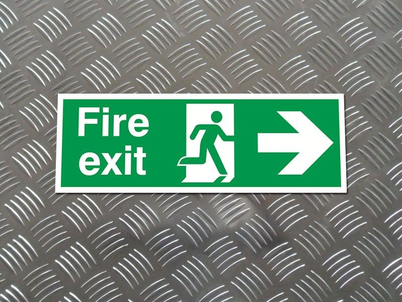 """Fire Exit Arrow Right"" Fire Exit Direction Sign"