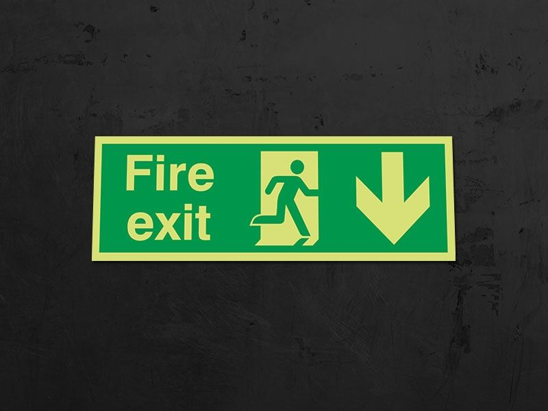 """Fire Exit Down"" Glow in the Dark Safety Sign"