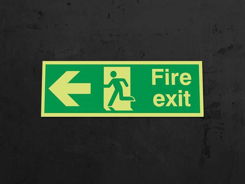 """Fire Exit Left"" Glow in the Dark Safety Sign"