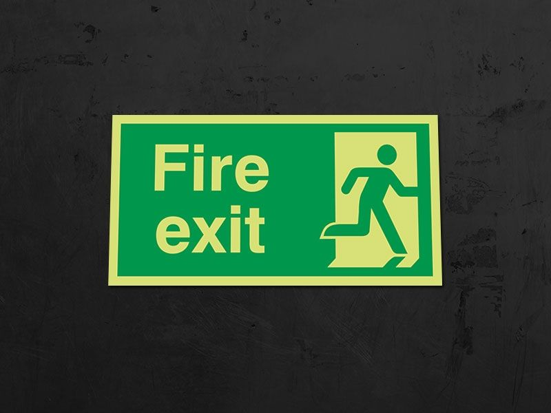 """""""Fire Exit Man Right"""" Glow in the Dark Safety Sign"""