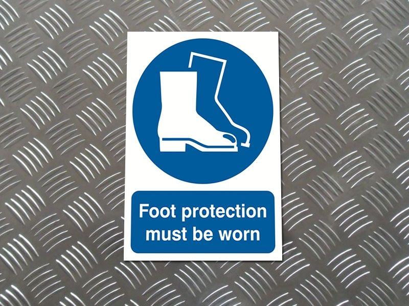 """""""Foot Protection Must Be Worn"""" Prohibition Sign"""