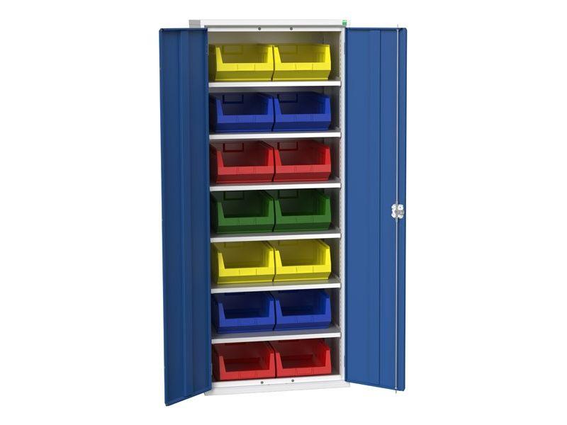 Galvanised Bin Cupboard 14 x No.5 Bins