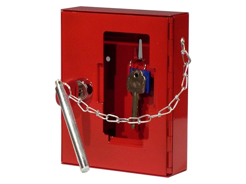 Glass Emergency Key Box with Cylinder Lock, Hammer and Chain