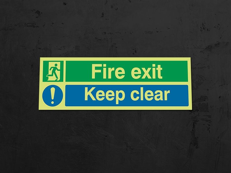 """""""Fire Exit"""" Glow in the Dark Safety Sign"""