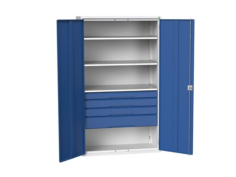 Kitted Workshop Cupboard with 3 Shelves, 4 Drawers