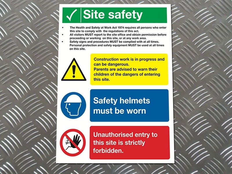 """""""Health & Safety at Work"""" Construction Site Safety Board"""