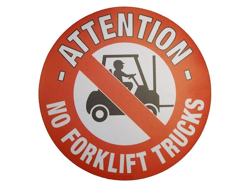 """No Forklift Trucks"" Floor Graphic Marker"