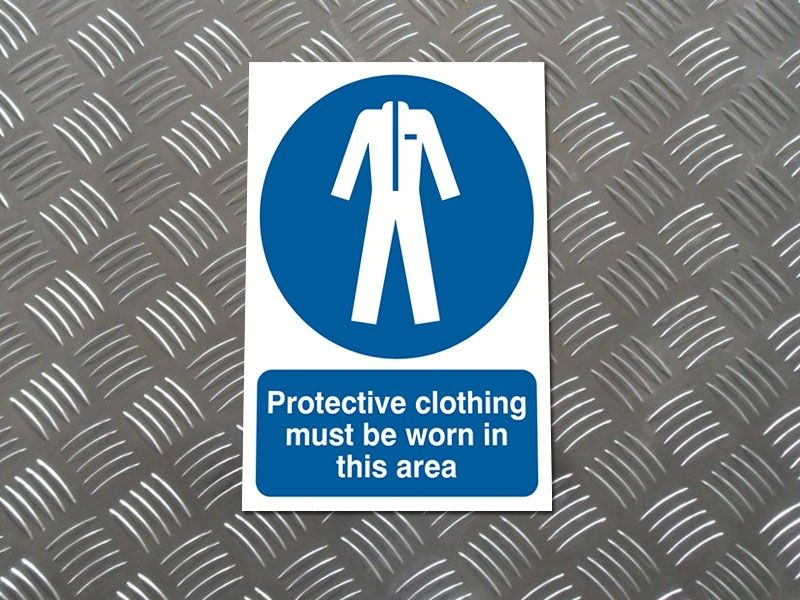 """Protective Clothing Must Be Worn"" Prohibition Sign"