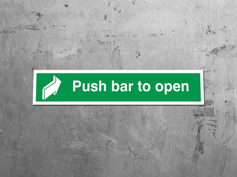 """""""Push Bar To Open"""" Fire Exit Sign"""
