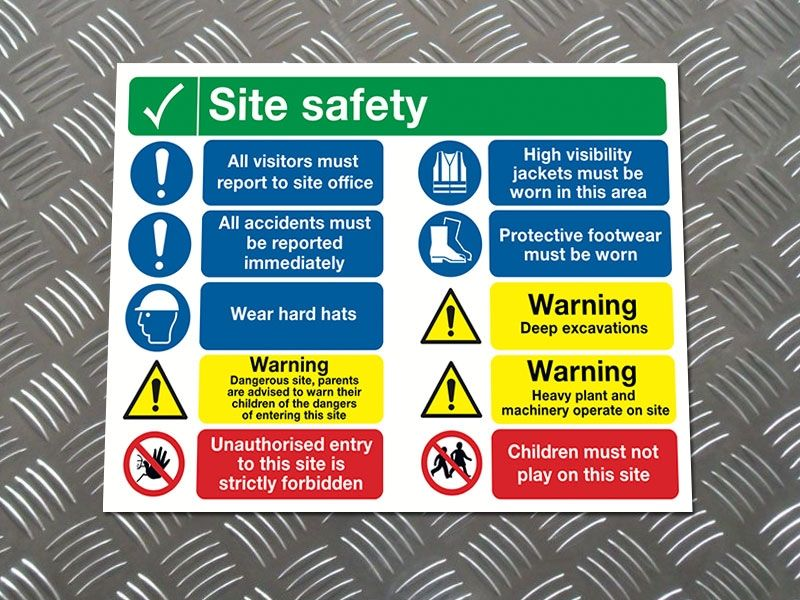 """""""Report-to Site Office"""" Construction Site Safety Board"""