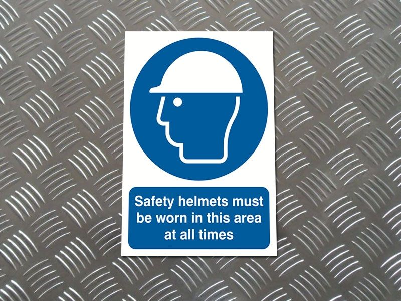 """Safety Helmets Must Be Worn"" Prohibition Sign"