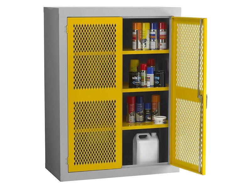 Steel Mesh Cabinet Double Door, 2 Shelves