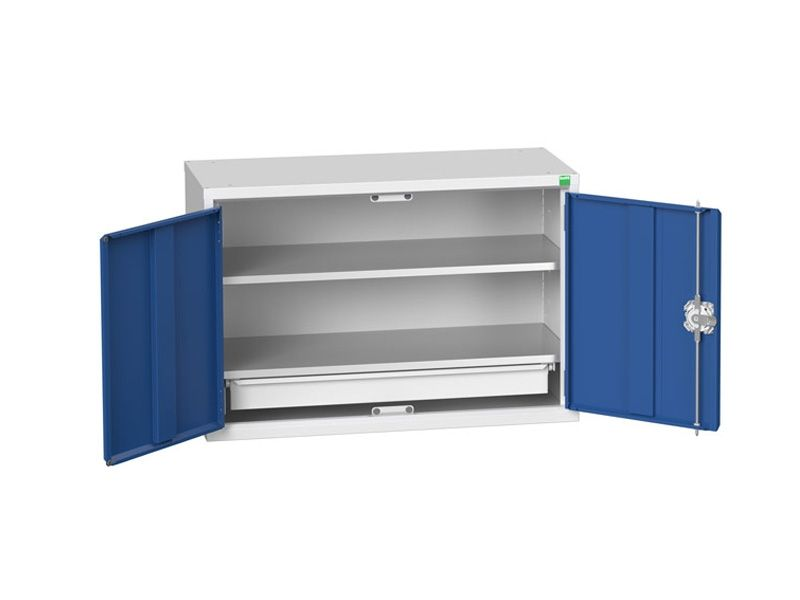 Wall Mounted Wide Workshop Cabinet with 2 Shelves, 1 Drawer