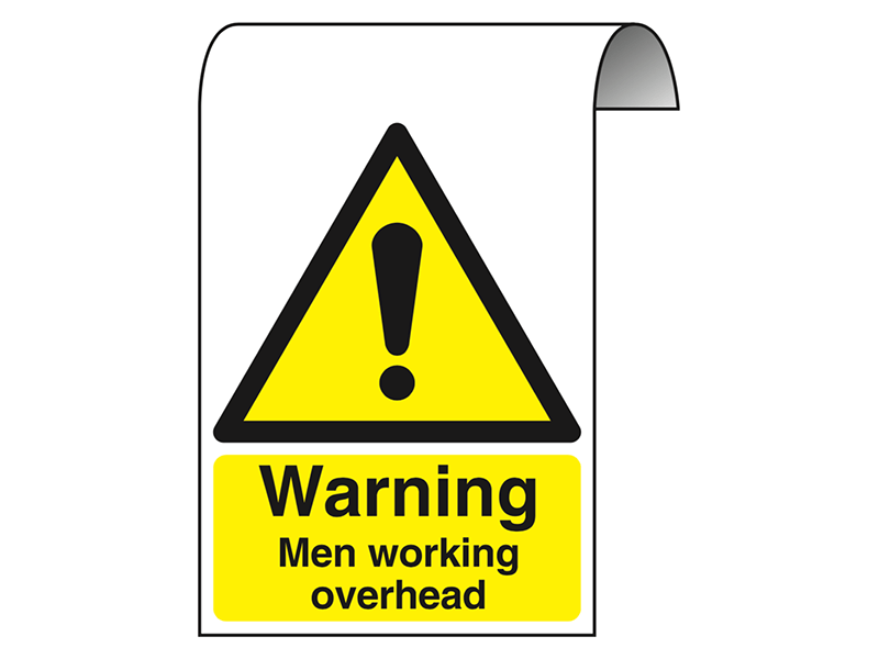 """Warning Men Working Overhead"" Roll Top Scaffolding Sign"