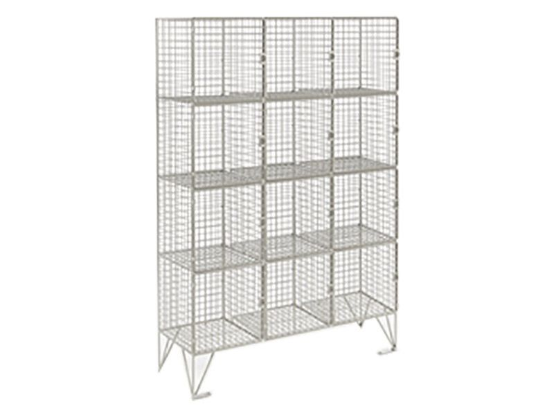 Wire Mesh 12 Compartment Locker with Doors