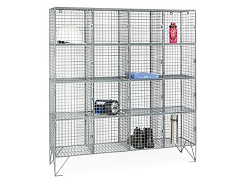 Wire Mesh 16 Compartment Locker with Doors