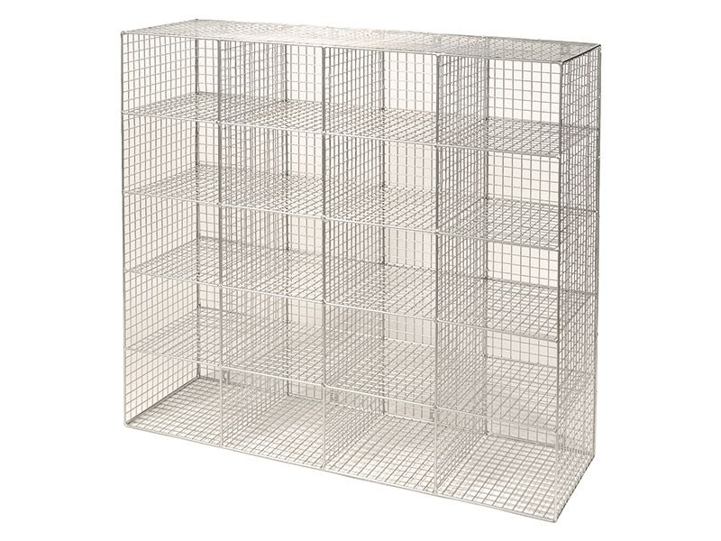 Wire Mesh 20 Compartment Locker without Doors