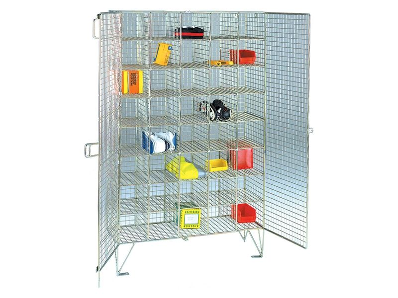 Wire Mesh 40 Compartment Locker with Doors