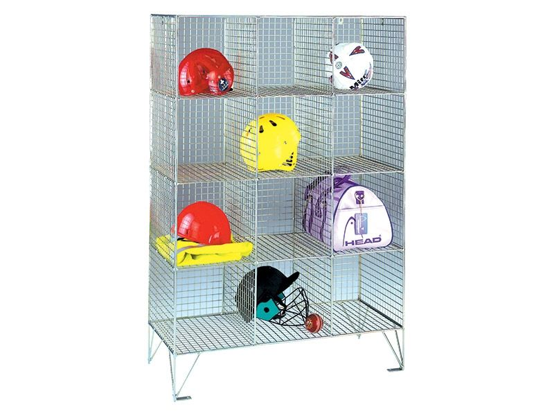 Wire Mesh 12 Compartment Locker without Doors