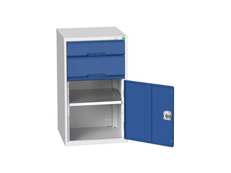 Workshop Cabinet 525mm Wide with Cupboard, 2 Drawers
