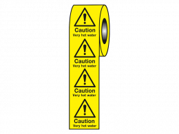 """Caution Very Hot Water"" Labels on a Roll"