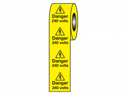 """Danger 240 Volts"" Labels on a Roll"