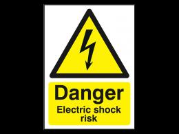 """""""Danger Electric Shock Risk"""" Warning Safety Sign"""
