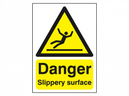"""""""Danger Slippery Surface"""" Warning Safety Sign"""