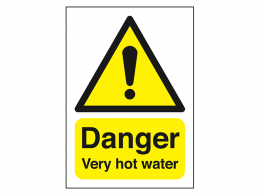 """Danger Very Hot Water"" Warning Safety Sign"