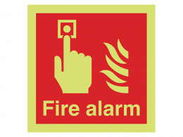 """""""Fire Alarm"""" Glow in the Dark Safety Sign"""