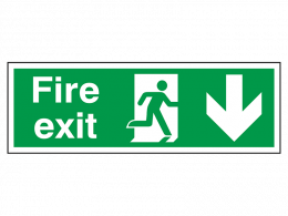 """Fire Exit Down"" Fire Exit Direction Sign"