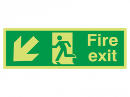 """Fire Exit Down Left"" Glow in the Dark Safety Sign"