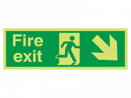 """""""Fire Exit Down Right"""" Glow in the Dark Safety Sign"""