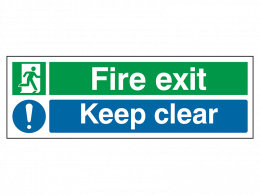 """Fire Exit Keep Clear"" Fire Exit Sign"