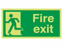 """""""Fire Exit Man Left"""" Glow in the Dark Safety Sign"""