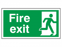 """""""Fire Exit Man Right"""" Fire Exit Direction Sign"""