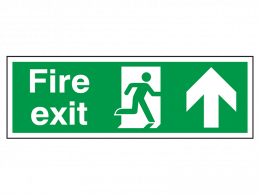 """Fire Exit Up"" Fire Exit Direction Sign"