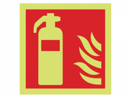 """Fire Extinguisher"" Glow in the Dark Safety Sign"