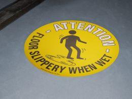 """""""Floor Slippery When Wet"""" Floor Graphic Marker"""
