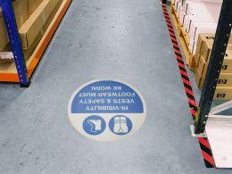 """""""Hi-Visibility Vests & Safety Footwear"""" Floor Graphic Marker"""