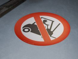"""No Forklifts Symbol"" Floor Graphic Marker"