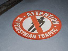 """""""No Pedestrian Traffic"""" Floor Graphic Marker"""