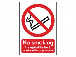 """No Smoking, It Is Against The Law"" Prohibition Sign"