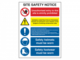 """""""No Unauthorised Entry"""" Construction Site Safety Board"""