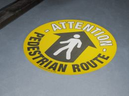 """Pedestrian Route"" Floor Graphic Marker"