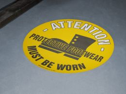 """Protective Footwear Must Be Worn"" Floor Graphic Marker"