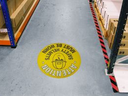 """Safety Helmets Must Be Worn"" Floor Graphic Marker"