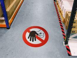 """""""Stop Hand"""" Floor Graphic Marker"""