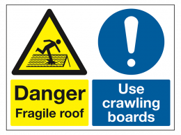 """Danger Fragile Roof"" Warning Safety Sign"